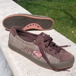 Roxy Brown and Pink Plaid Sneakers/Skate Shoes